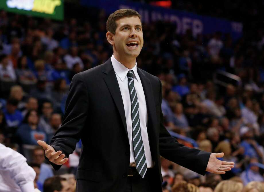 Boston Celtics head coach Brad Stevens gestures to an official in the first quarter of an NBA basketball game against the Oklahoma City Thunder in Oklahoma City, Wednesday, March 18, 2015. Oklahoma City won 122-118. (AP Photo/Sue Ogrocki) Photo: Sue Ogrocki, STF / Associated Press / AP