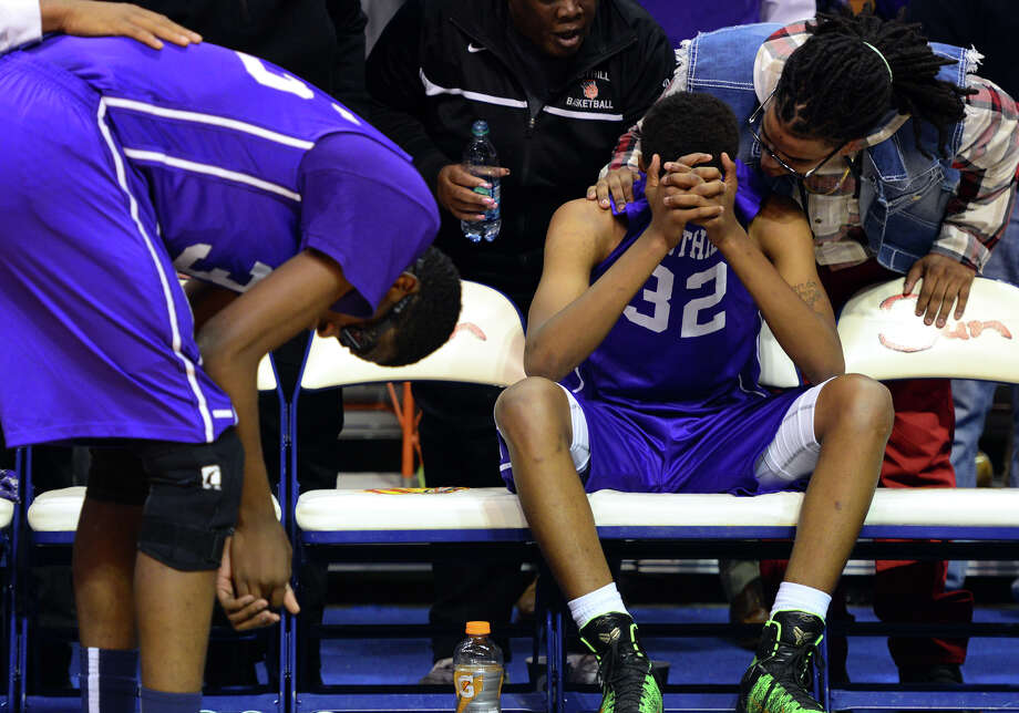 Westhill team members react after losing to Fairfield Prep, during CIAC State Boys Basketball Tournament action at Mohegan Sun in Uncasville, Conn., on Saturday Mar. 21, 2015. Photo: Christian Abraham / Connecticut Post