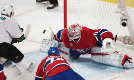 Carey Price makes a save on Patrick Marleau's shot in the third period.