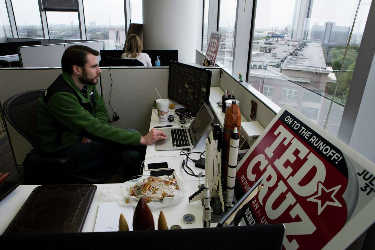 Josh Perry works at Sen. Ted Cruz's presidential campaign headquarters in Houston, where his chief strategists are already at work.