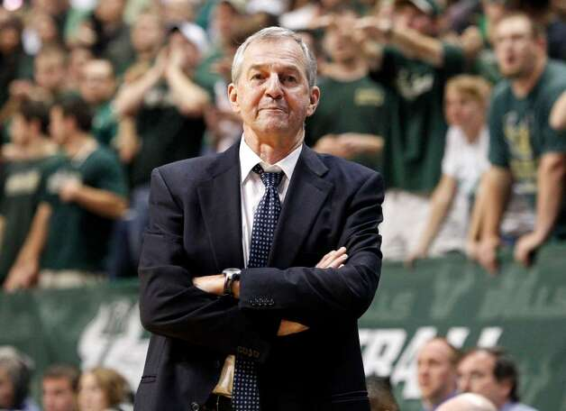 Connecticut head coach Jim Calhoun reacts during the second half of his team's 75-68 loss to South Florida in an NCAA college basketball game Saturday, March 6, 2010, in Tampa, Fla. (AP Photo/Mike Carlson) Photo: Mike Carlson, ASSOCIATED PRESS / AP2010