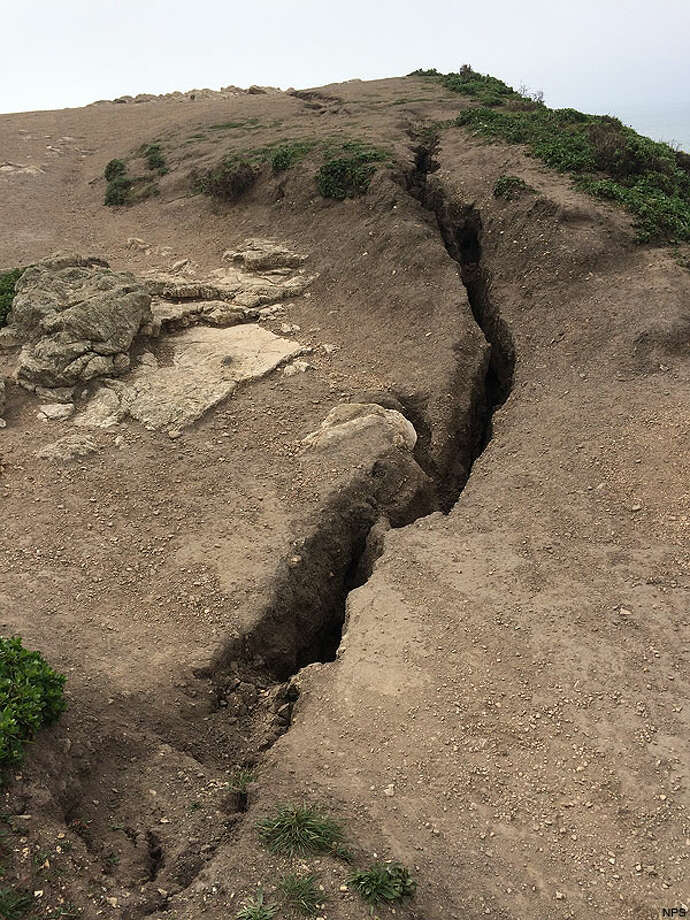 Fissures are shown in the area of Arch Rock at Point Reyes National Seashore. Photo: National Parks Service