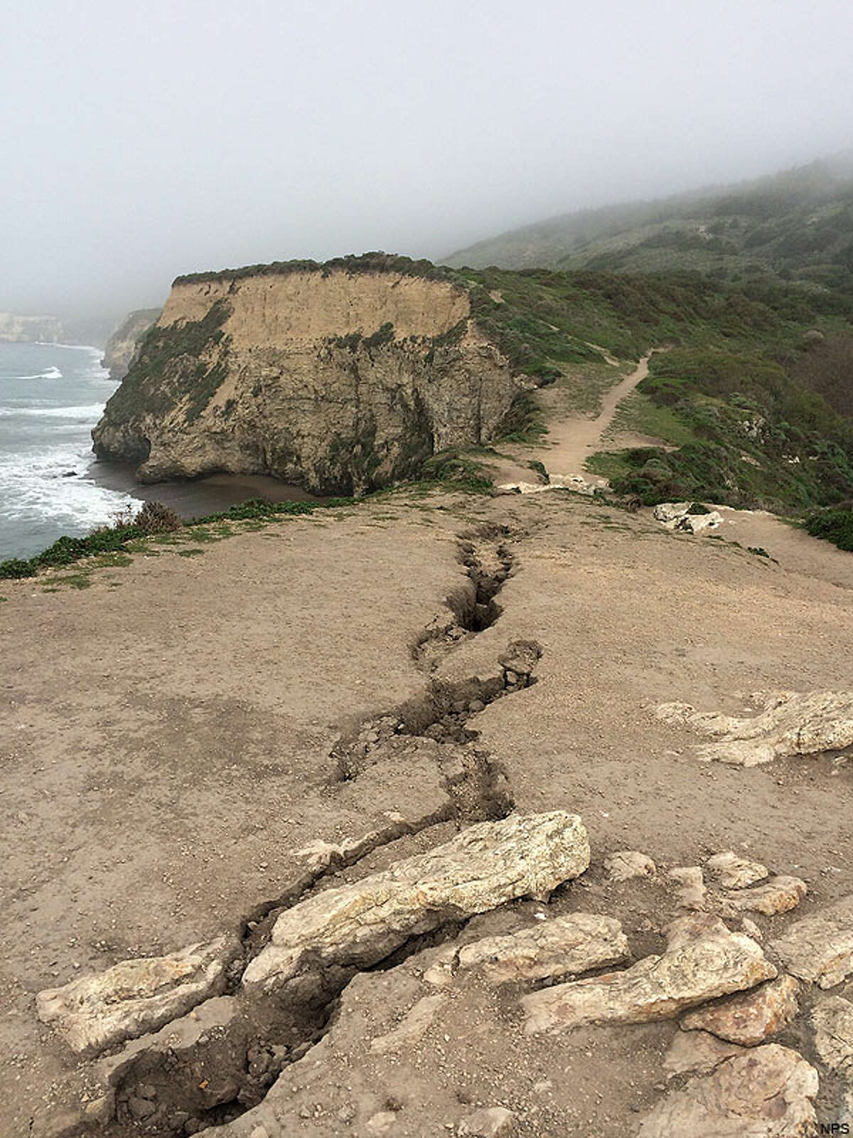 Fissures are shown in the area of Arch Rock at Point Reyes National Seashore.