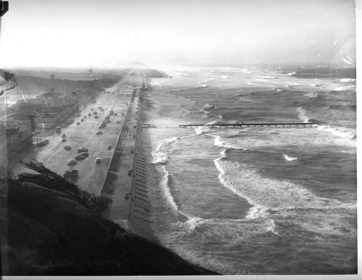 The seawall at Ocean Beach on a stormy winter day in 1960.
