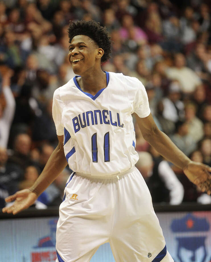 Bunnell's Aaron Samuel celebrates after a dunk in the final minutes of his team's victory over Naugatuck in the Class L boys basketball state championship game at the Mohegan Sun Arena in Uncasville, CT on Sunday, March 22, 2015. Photo: Brian A. Pounds / Connecticut Post