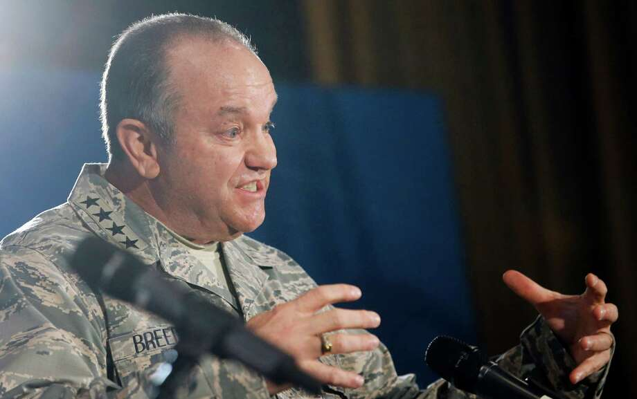 Supreme Allied Commander Europe, Gen. Philip Breedlove, addresses the media at Supreme Headquarters Allied Powers in Europe (SHAPE) in Mons, Belgium on Wednesday, March 11, 2015. NATO's secretary-general is insisting international observers be given the freedom of movement and protection they need to monitor the cease fire in Ukraine. (AP Photo/Olivier Hoslet, Pool) Photo: Olivier Hoslet / Associated Press / Pool EPA
