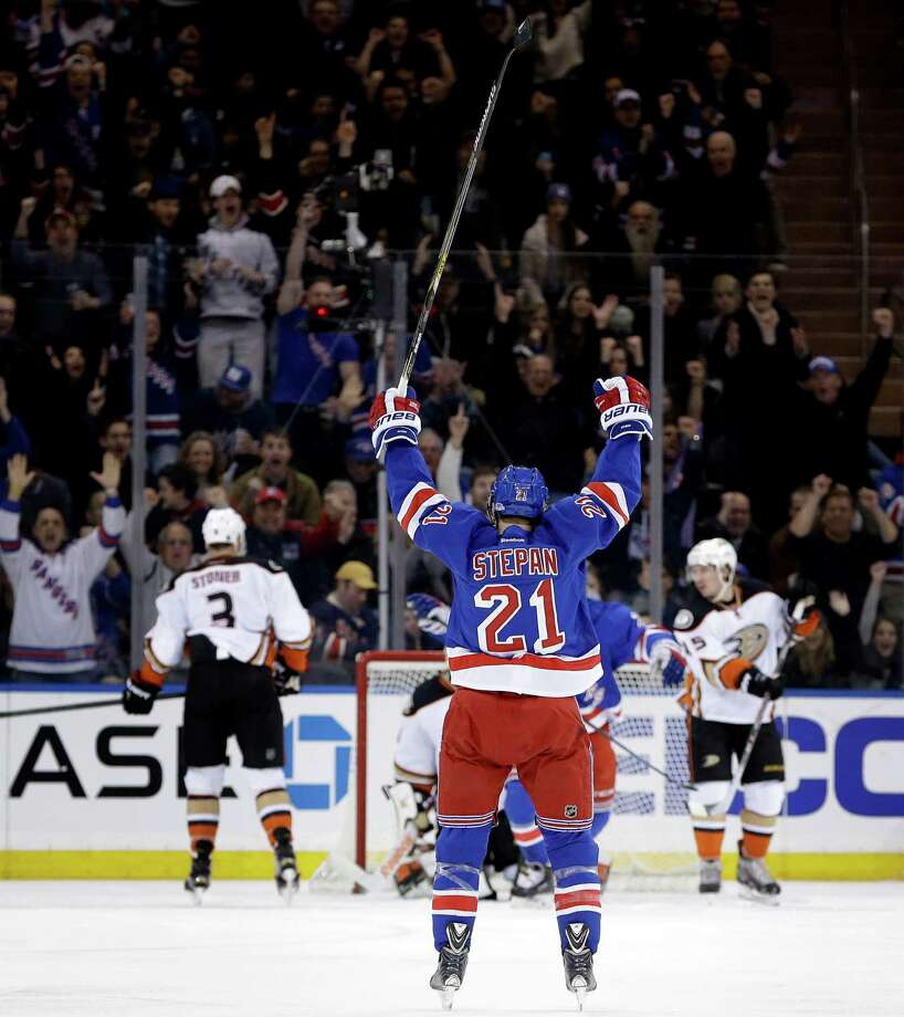 New York Rangers' Derek Stepan reacts after scoring during the first period of the NHL hockey game against the Anaheim Ducks, Sunday, March 22, 2015, in New York. (AP Photo/Seth Wenig) ORG XMIT: NYSW103 Photo: Seth Wenig / AP