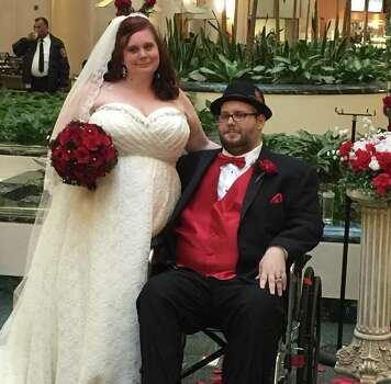 Lindsey Tate and John Sims were married March 21, 2015, at the University of Texas M.D. Anderson Cancer Center, where Sims is receiving treatment for Burkitt lymphoma, a rapidly growing cancer. Photo: Courtesy Of Nicole Tate
