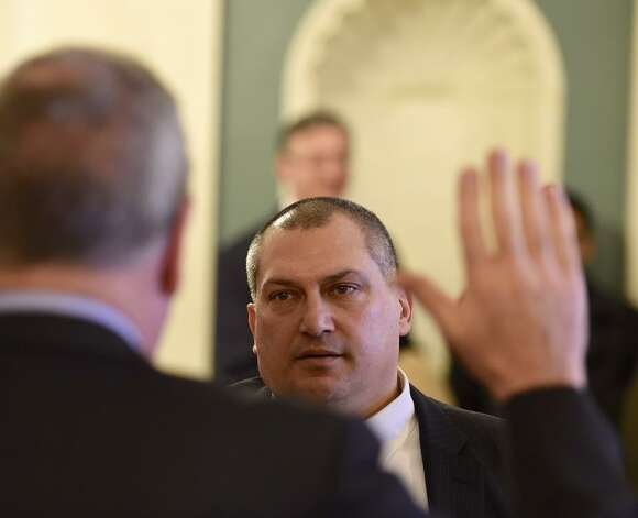 Schenectady County Public Defender Mark Caruso was sworn in Monday morning as Schenectady City Court judge. Caruso is taking the seat left vacant after Matt Sypniewski was elected Schenectady County judge. (Skip Dickstein / Times Union)
