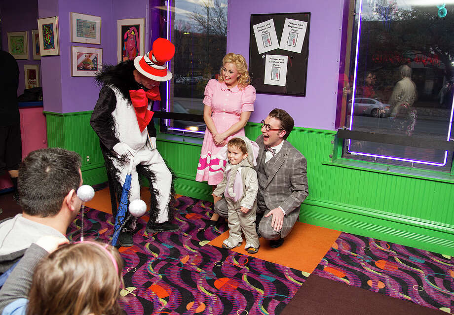 """The stars of """"Elephant and Piggie,"""" participating in a meet-and-greet before the show at the Magik Theatre. Photo: Alma E. Hernandez/For The Express-News"""