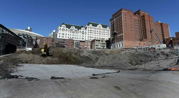 Work on the convention center site foundation takes place Thursday afternoon, March 19, 2015, in Albany, N.Y. (Skip Dickstein/Times Union) Photo: SKIP DICKSTEIN, ALBANY TIMES UNION / 10031119A