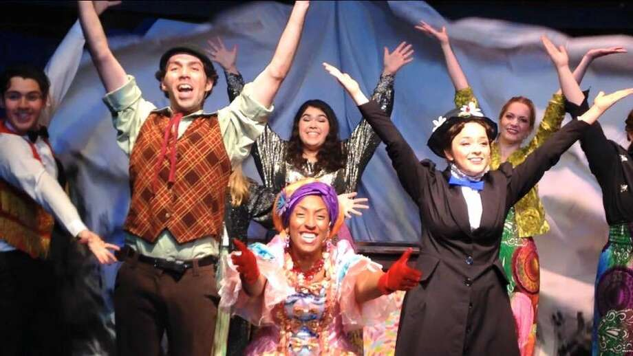 "Dorian Arriaga (from left), Sean Salazar, Anna Martinez, Danica McKinney, Anna Rodriguez and Alexandra Conroy appear in ""Mary Poppins"" at the Cameo Theatre. Photo: Courtesy Photo"