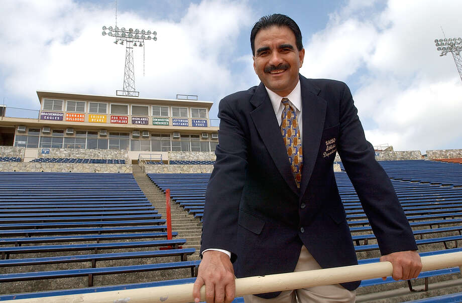 Gil Garza, new Athletic Director for the SASD, stands in Alamo Stadium Thursday, April 11, 2002. Photo by Tom Reel/Staff Photo: Tom Reel /San Antonio Express-News / SAN ANTONIO EXPRESS-NEWS