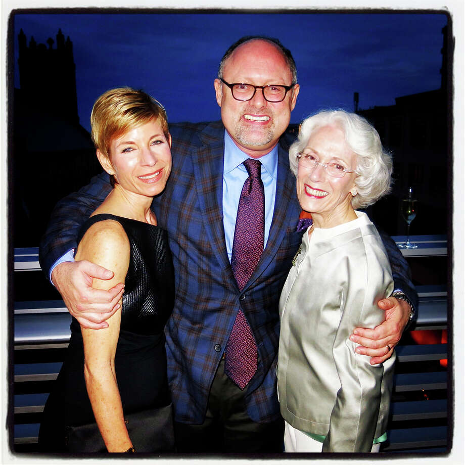 7:51 p.m. March 14: Julie Simpson (left), Cal Shakes Artistic Director Jonathan Moscone and Sharon Simpson ring in the season. Photo: Catherine Bigelow / Special To The Chronicle / ONLINE_YES