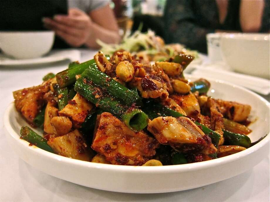 Red oil rabbit with toasted peanut and scallions, Mala Sichuan. Photo by Alison Cook Photo: Alison Cook