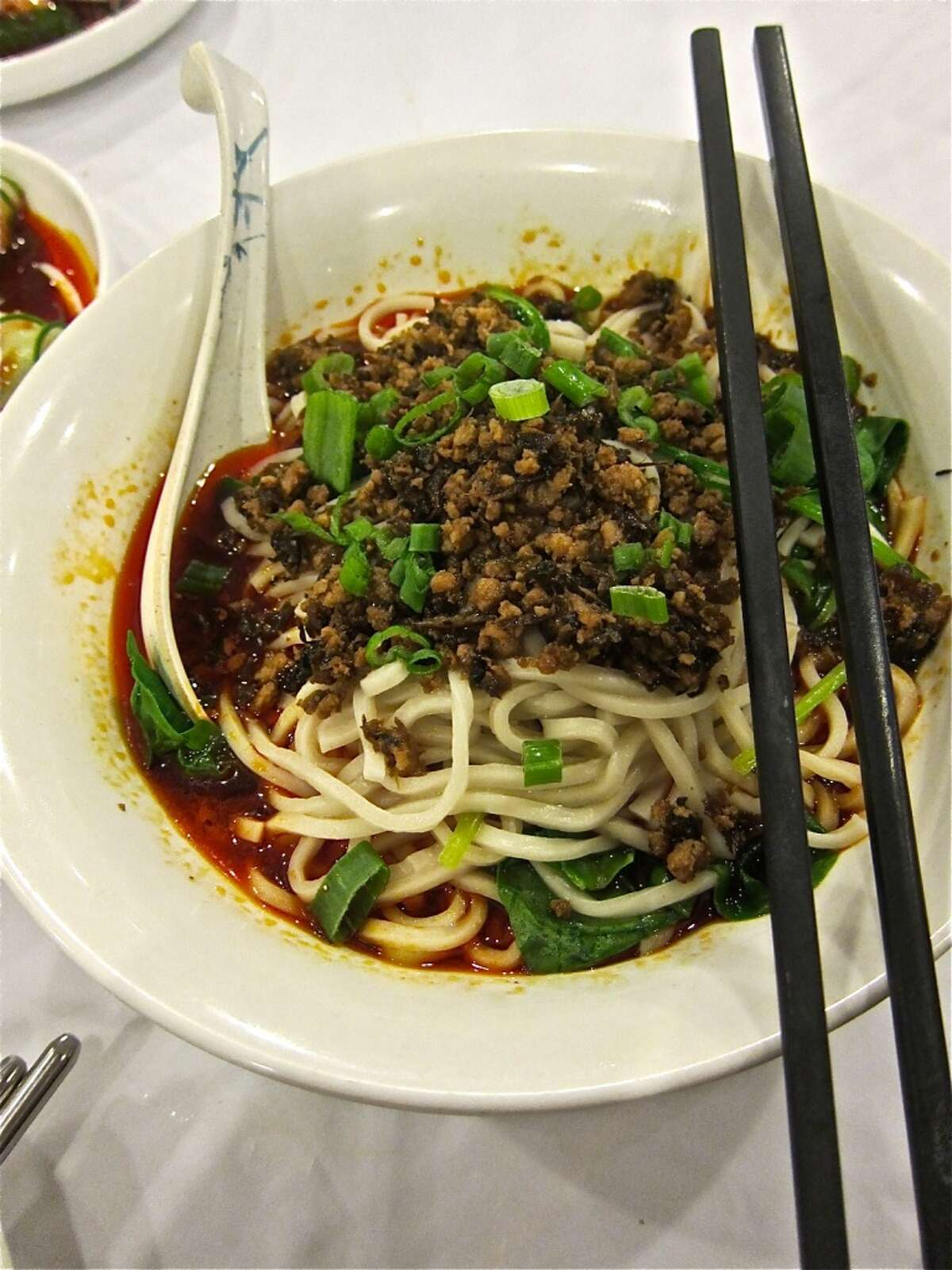 Dan Dan Noodles with minced pork at Mala Sichuan. Photo by Alison Cook