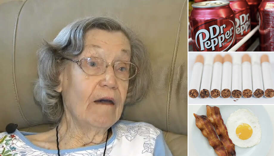 Live past 100 using these secrets of longevity from centenarians  Elizabeth Sullivan of Fort Worth said her secret to making it to 104 years old was drinking three Dr Peppers every day. Other centenarians say their secrets to living to 100+ includes cigarettes, lots of bacon and other seemingly unhealthy habits.?    Photo: CBSDFW | Houston Chronicle Composite