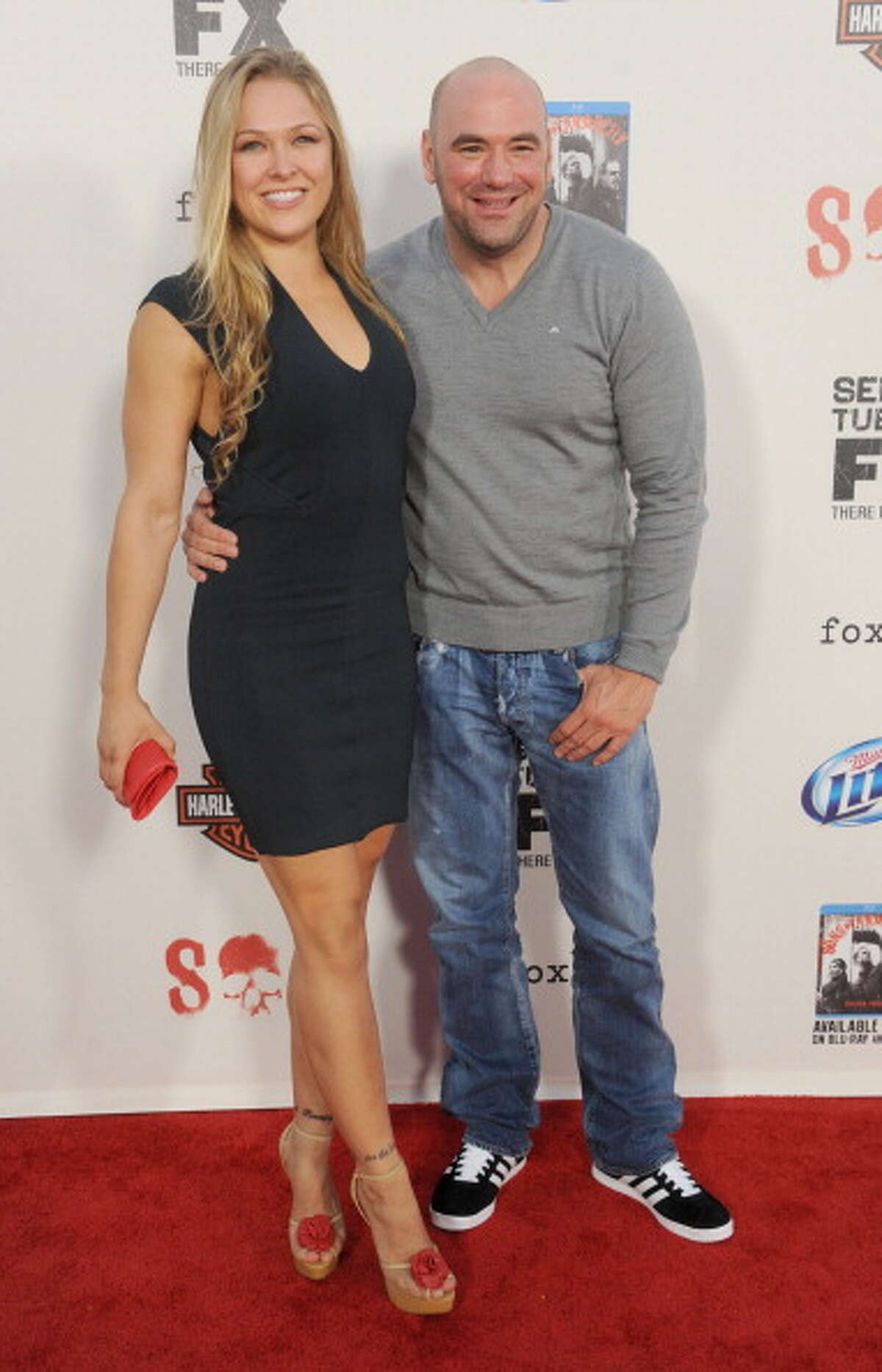 """LOS ANGELES, CA - SEPTEMBER 08: Ronda Rousey and Dana White arrive at the """"Sons of Anarchy"""" season 5 premiere screening at Westwood Village on September 8, 2012 in Los Angeles, California. (Photo by Gregg DeGuire/WireImage)"""