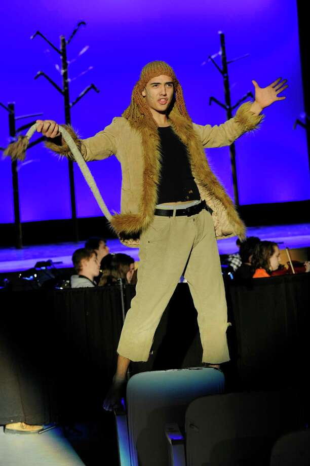 "Brandon Robbins-Cartagena as the Lion during rehearsal Monday, March 23, 2015. Danbury High School Productions presents the musical, ""The Wiz"" , Thursday, March 26 at 7pm, Friday and Saturday March 27 and 28 at 7:30 p.m.. Tickets are $10 for students and $12 for adults. Photo: Carol Kaliff / The News-Times"