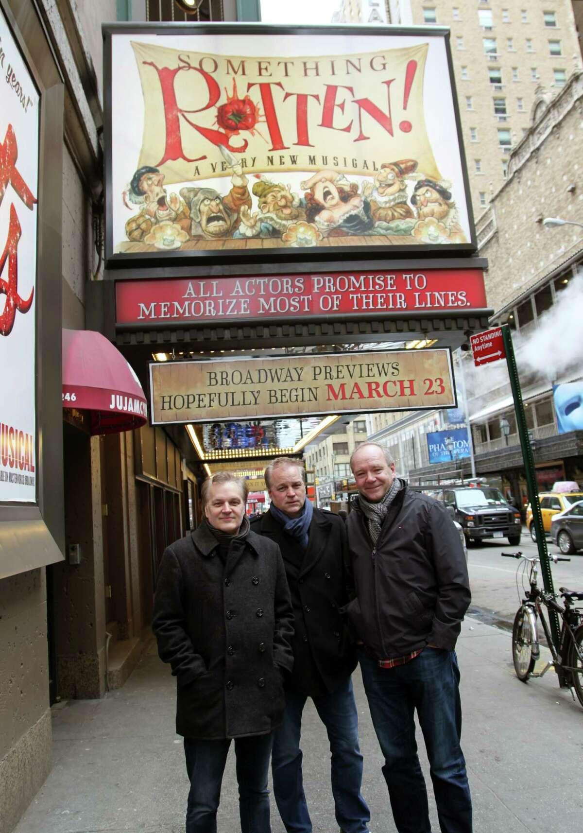 "Wayne Kirkpatrick (left), Karey Kirkpatrick and John O'Farrell created the Broadway musical ""Something Rotten."""