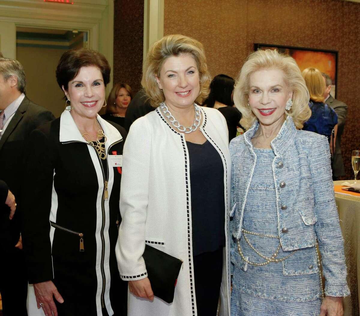 Lisa Shumate, Chair, Lady Fiona Carnarvon and Lynn Wyatt at Highclere Tea at St. Regis.