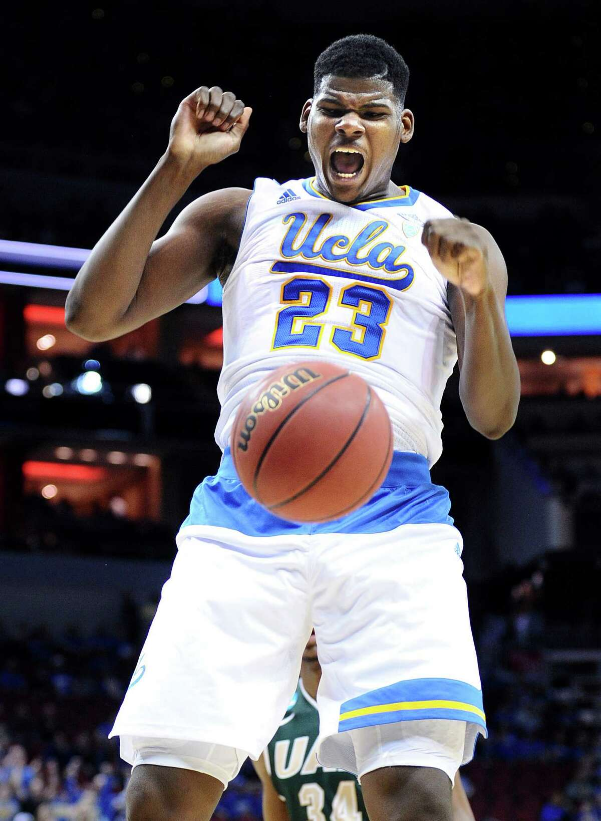 16. UCLA Mascot: Bruins Location: Los Angeles Conference: Pac-12 Region & seed: South, No. 11 Sweet 16s: 33 Elite 8s: 22 Final Fours: 18 National championships: 11 Notable alumni: Ben Stiller, Kareem Abdul-Jabbar, Jim Morrison, Jackie Robinson, Troy Aikman, Arthur Ashe. Championship odds: 100/1 Tournament recap: A former college basketball powerhouse, UCLA enters the Tournament's second week as the lowest seed at 11 after a controversial finish in its opener against SMU. The Bruins made sure there were no doubts in their second game, overpowering UAB for the right to play at NRG Stadium, where they'll try to advance to the Elite 8 for the first time since making three straight appearances from 2006-08. UCLA brings to town five players who average double-digits scoring, including coach Steve Alford's son, Bryce, the Pac-12's top freshman a season ago.