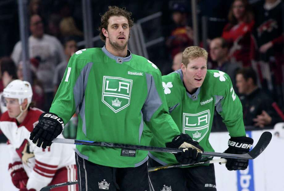 LOS ANGELES, CA - MARCH 16:  Anze Kopitar #11 and Matt Greene #2 of the Los Angeles Kings wear green St Patrick's Day warmup jerseys as they get ready to play the Arizona Coyotes at Staples Center on March 16, 2015 in Los Angeles, California.  (Photo by Stephen Dunn/Getty Images) ORG XMIT: 507050881 Photo: Stephen Dunn / 2015 Getty Images