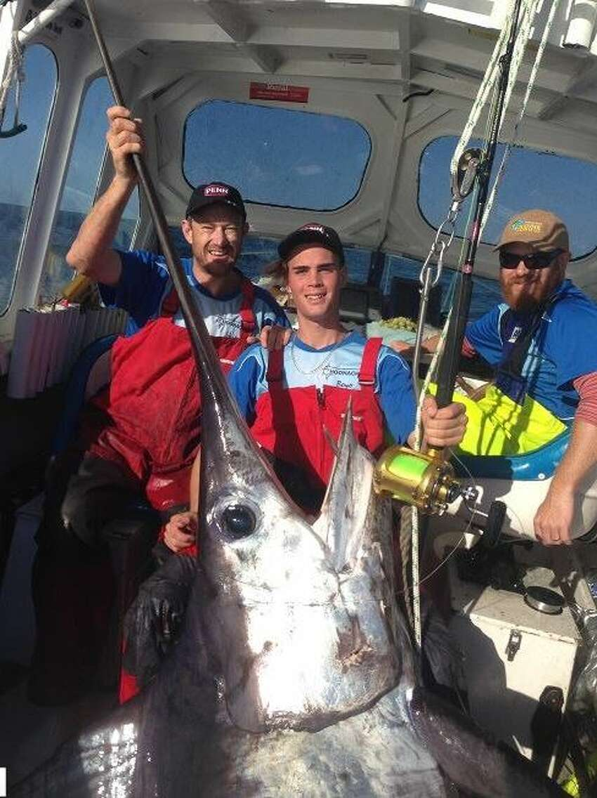Tasmanian fisherman Kyle Longmore, 16, caught this giant swordfish over the weekend weighing in at 580 pounds.