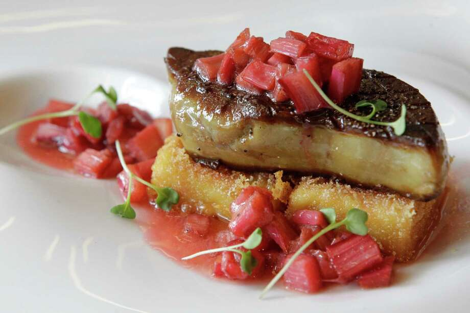 The flavors of the foie gras with rhubarb positively leap. Photo: Melissa Phillip, Staff / © 2014  Houston Chronicle