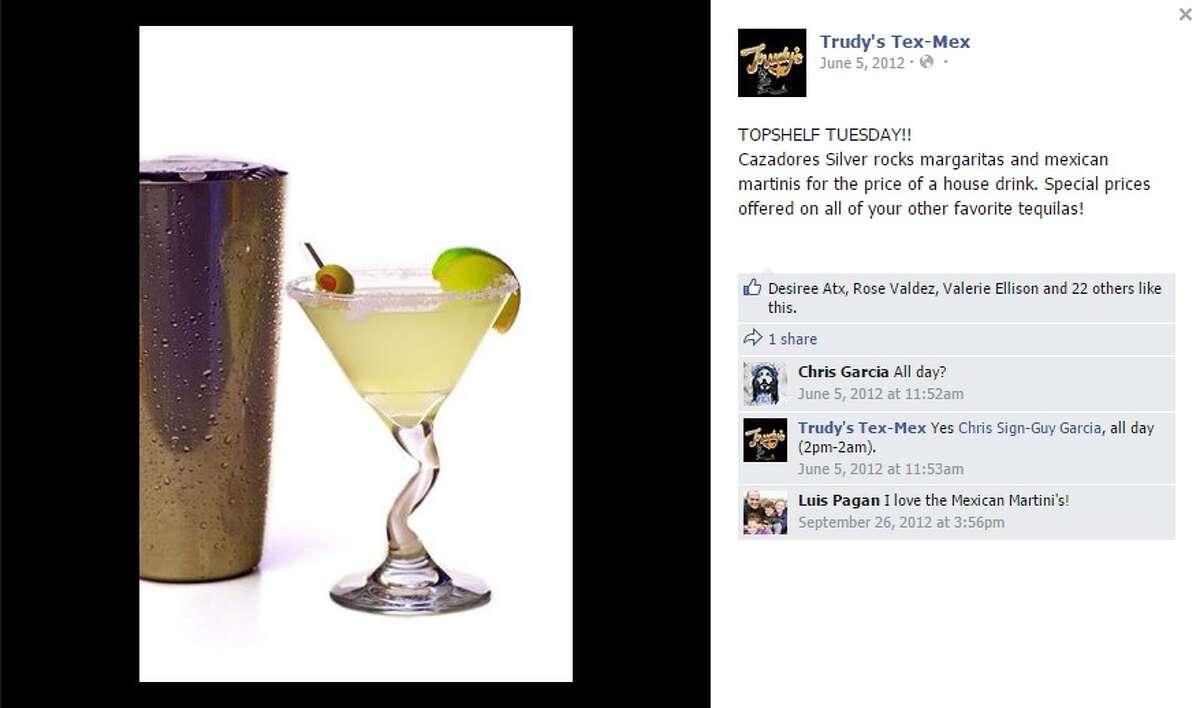 Mexican Martini Restaurant:Trudy's, 901 Little Texas Lane, Austin Ingredients: Tequila, Cointreau triple sec, Sprite, orange juice and lime juice Limit: 2