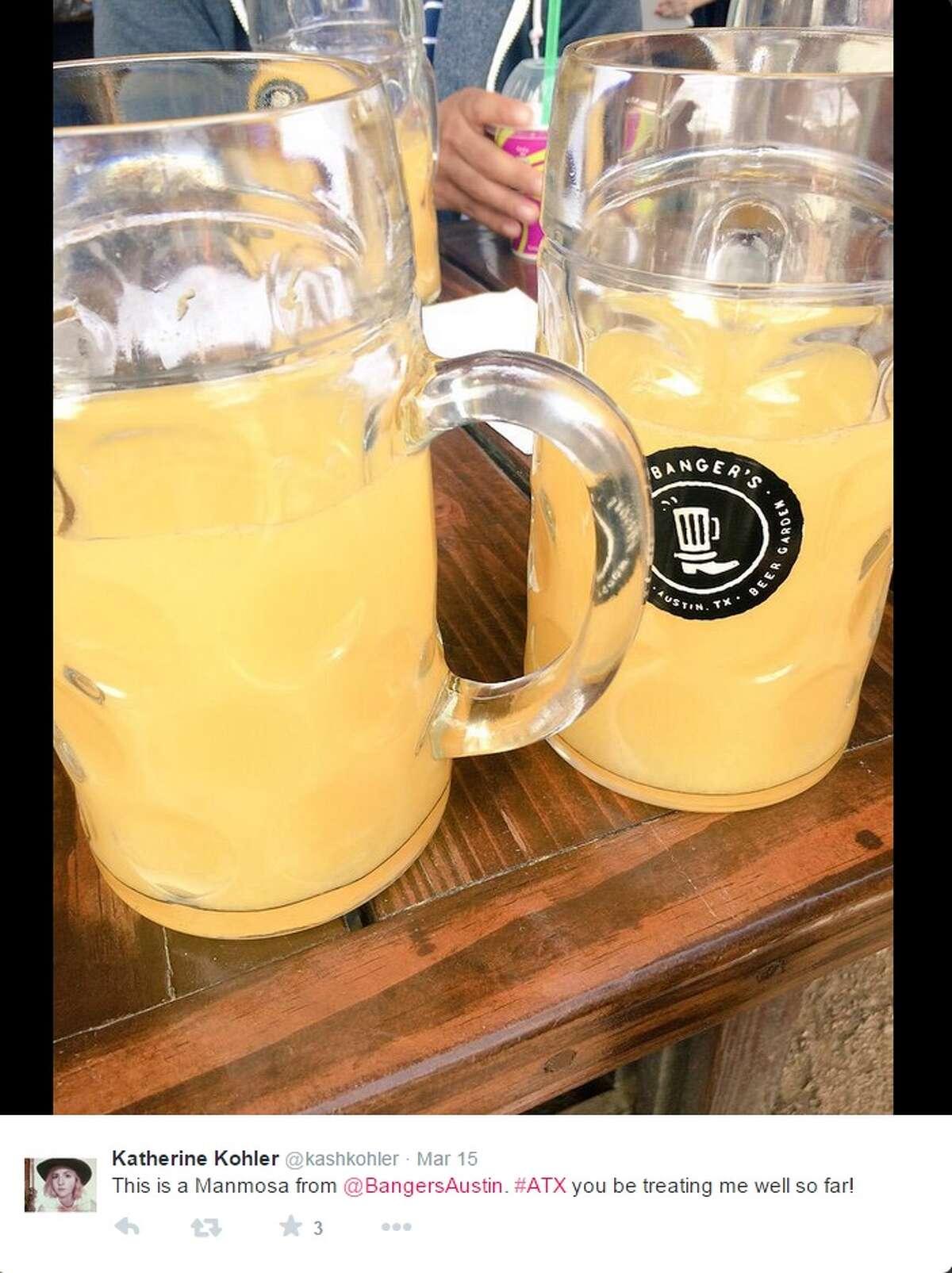 Manmosa Restaurant:Banger's Sausage House and Beer Garden, 79 Rainey Street, Austin Ingredients: 1 liter of champagne, with orange or cranberry juice Limit: 1