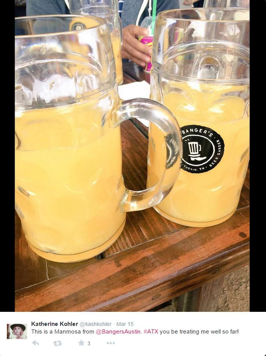 Manmosa Restaurant: Banger's Sausage House and Beer Garden, 79 Rainey Street, Austin Ingredients: 1 liter of champagne, with orange or cranberry juice Limit: 1