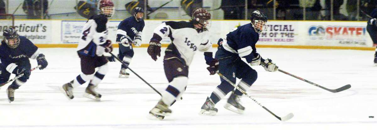 Shepaug Valley/Litchfield/Nonnewaug co-op's 4-2 victory over Brookfield/Bethel/Danbury in the first round of the state Division III ice hockey tournament at the Danbury Ice Arena. March 9, 2015