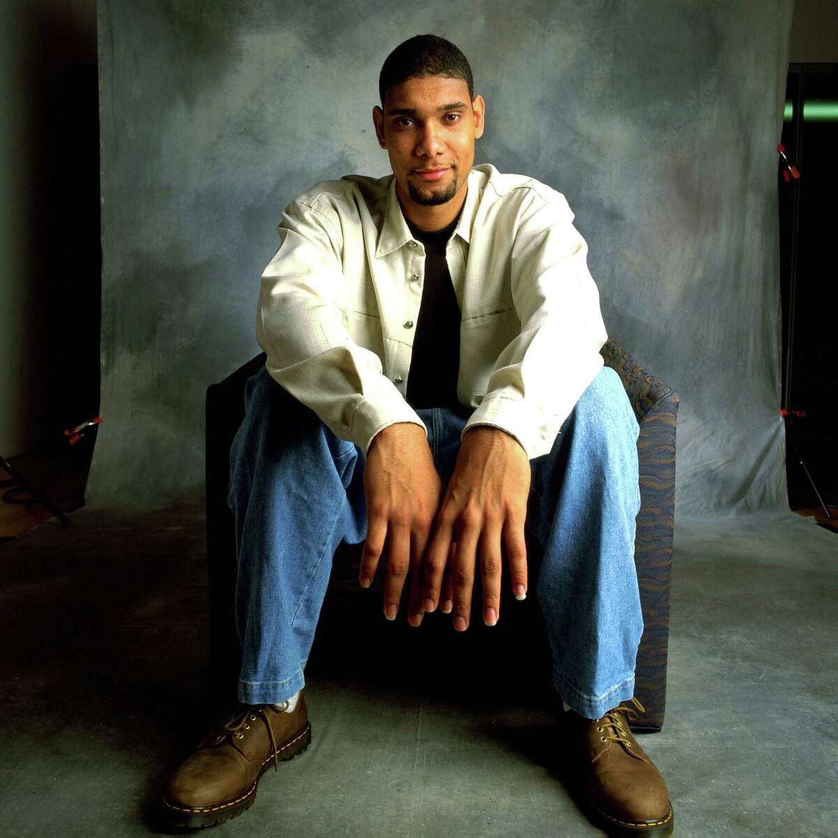 Tim Duncan's down-to-earth style hasn't evolved much in the years since he turned pro in the NBA. Here he is in his rookie year, 1998.