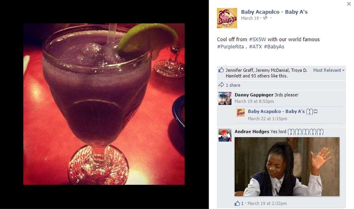 Purple Rita Restaurant: Baby Acapulco Ingredients: Tequila, Everclear, blue Curaçao, crème de cassis and lime juice Limit: 2