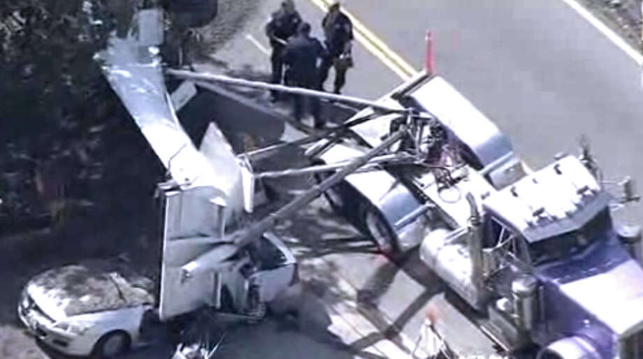 A woman was killed when a gravel truck spilled its load in Martinez. Photo: CBS San Francisco