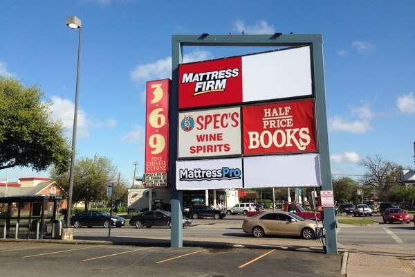Mattress Firm and Mattress Pro share space on the sign of the retail center at the southwest corner of Westheimer and Montrose.