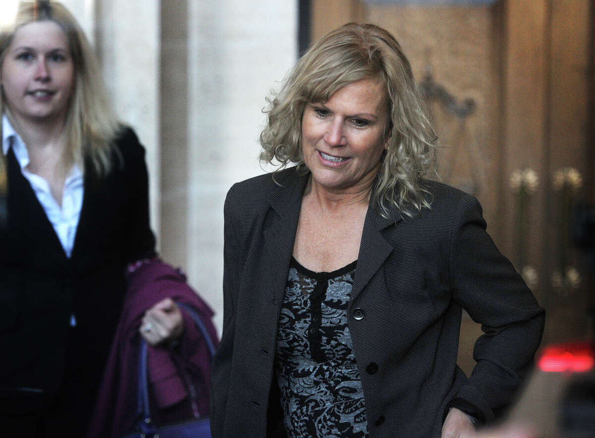 Former 5th Congressional District candidate Lisa Wilson-Foley enters U.S. District Court in New Haven, Conn. where she was sentenced to five months in prison for conspiracy to make illegal campaign contributions on Tuesday, March 24, 2015.