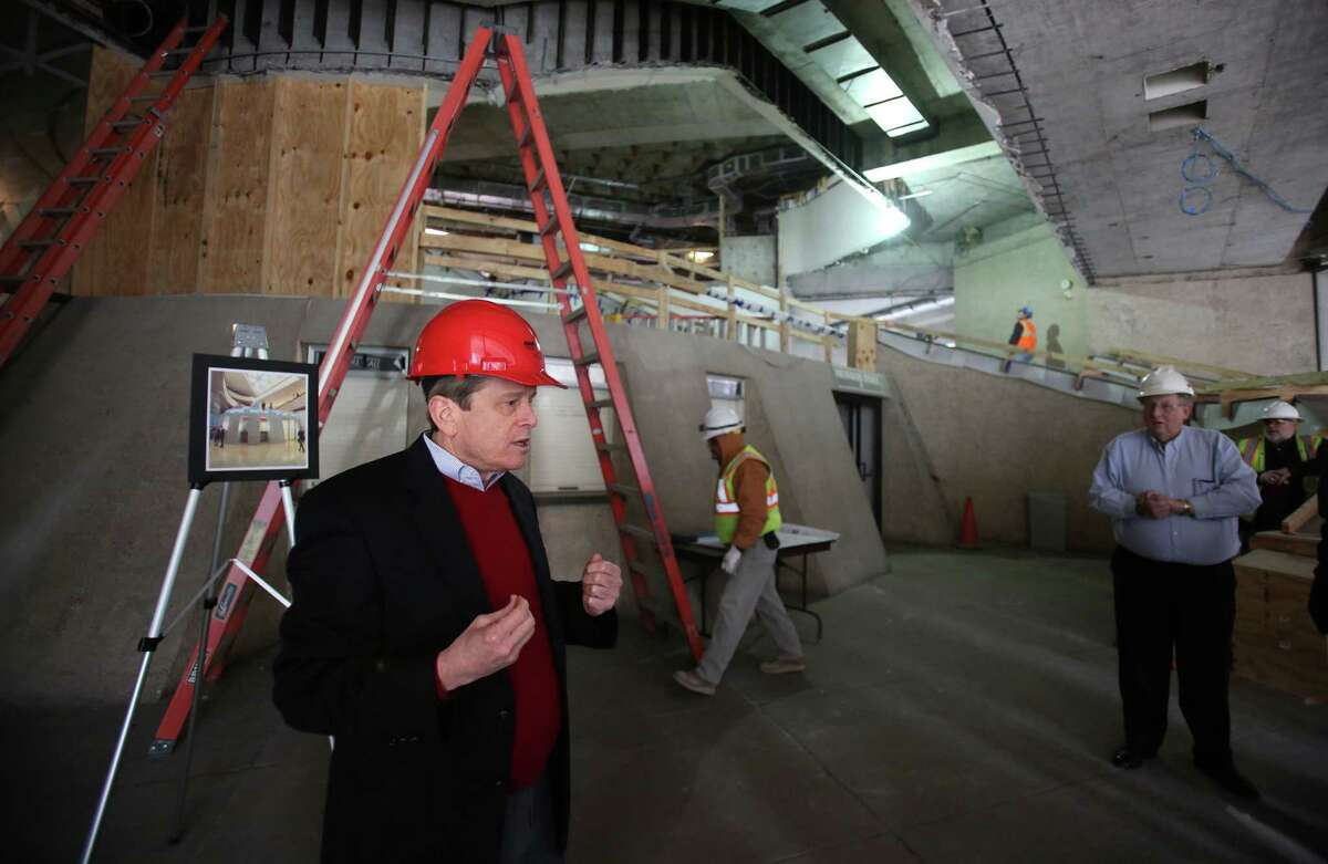 Dean Gladden, Alley Theatre managing director, led a hard-hat tour in January. Renovations should be complete by September.