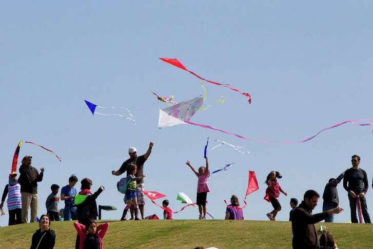 Families fly their kites on the hill near the Miller Outdoor Theater during the Hermann Park Kite Festival last year