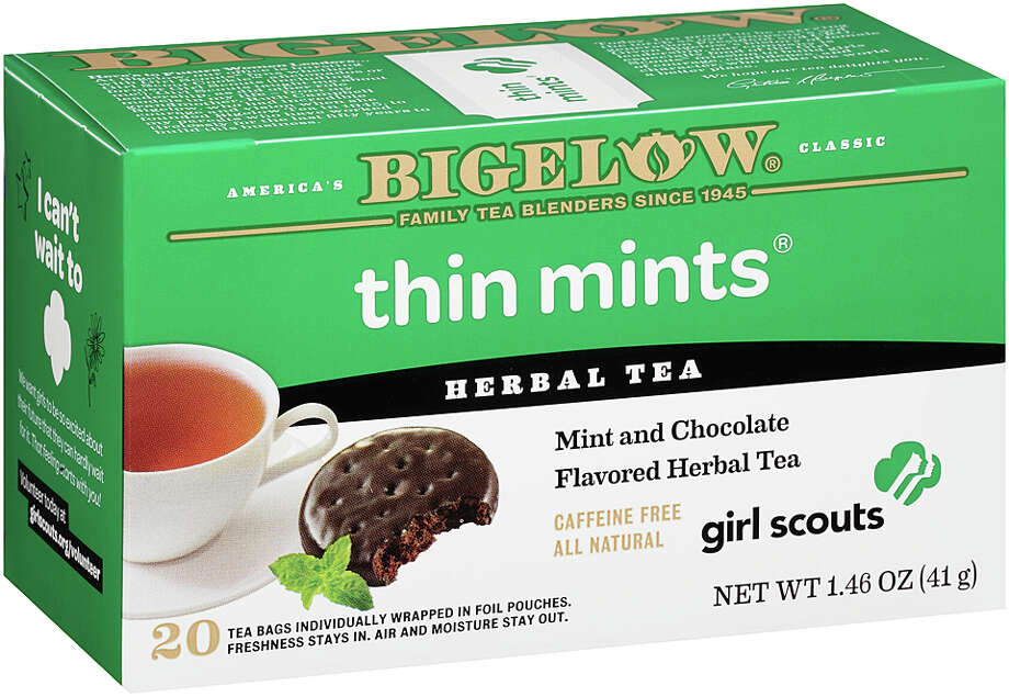 A box of Bigelow Thin Mints tea.