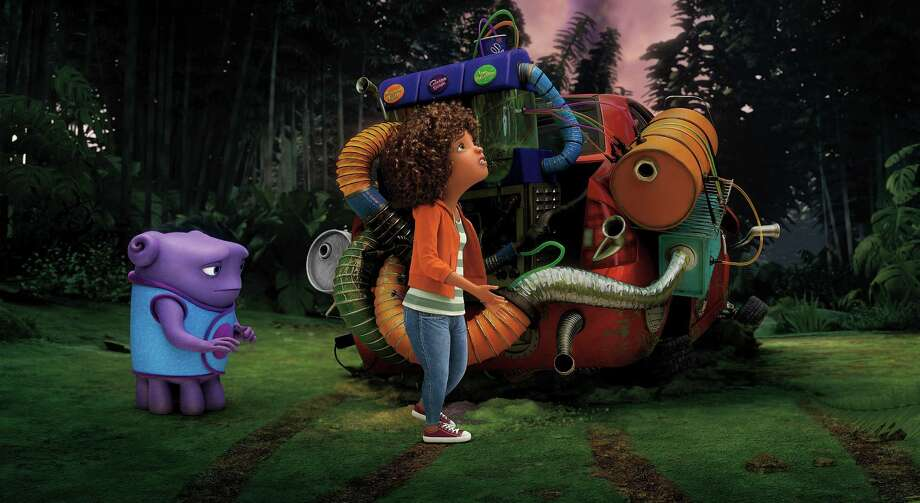 """In this image released by DreamWorks Animation, characters Oh, voiced by Jim Parsons, left, and Tip, voiced by Rihanna appear in a scene from the animated film """"Home."""" (AP Photo/DreamWorks Animation) Photo: DreamWorks Animation, HONS / DreamWorks Animation"""