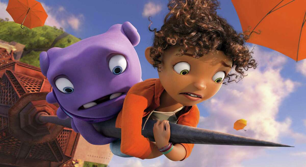 In this image released by DreamWorks Animation, characters Oh, voiced by Jim Parsons, left, and Tip, voiced by Rihanna appear in a scene from the animated film