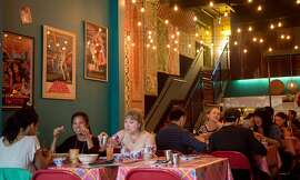 Hawker Fare in San Francisco is an expansion of James Syhabout's Oakland restaurant. The Mission District space is bright and colorful.