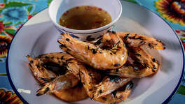 Hawker Fare's head-on shrimp.
