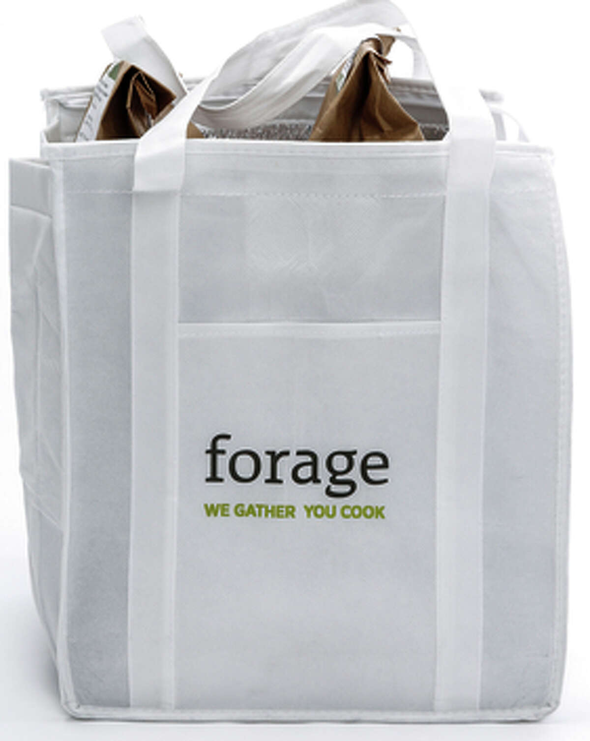 A meal kit from Forage containing a recipe for Beet Fettuccini, Shiitake, Snowpeas, Dandelion, and Ginger-Arugula Pesto.