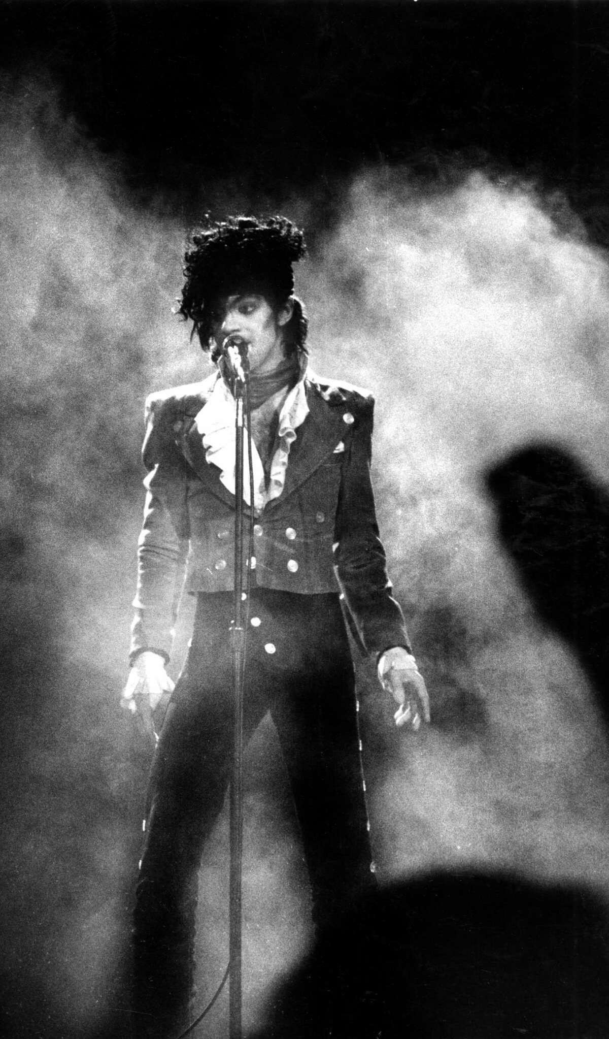 Prince performs at the Cow Palace in 1985.