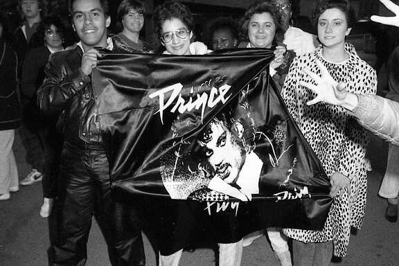 "Feb. 27, 1985: Fans wait outside on the first day of Prince's stay at the Cow Palace. The concerts, during the peack of Prince's early fame with ""Purple Rain,"" were quick sellouts."