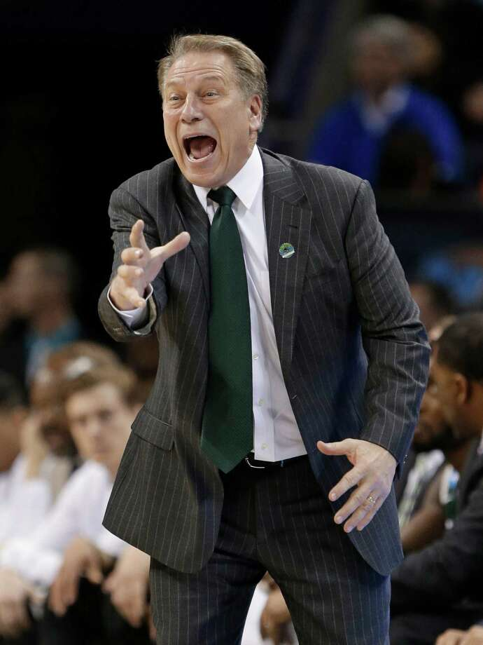 Michigan State head coach Tom Izzo directs his team against Virginia during the second half of an NCAA tournament college basketball game in the Round of 32 in Charlotte, N.C., Sunday, March 22, 2015. (AP Photo/Gerald Herbert) Photo: Gerald Herbert / Associated Press / AP