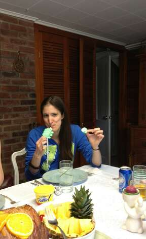 "Because Beth Coblish's daughter Megan was trying a vegetarian diet one Easter, mom took her favorite Easter treat and served her peep-kabobs. ""No grilling was required and everyone had a good laugh,"" Coblish said."